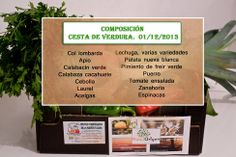 Composición de las cestas de verduras de temporada - NatuOrigen, para esta semana.