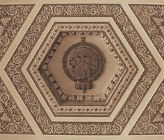 Plaster Ceiling Detail: NYC Post Office  Wonderful example of fine craftsmanship of the past.  Sepia architectural photography.