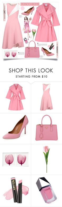 """""""Color Me Pretty: Head to Toe Pink"""" by southindianmakeup1990 ❤ liked on Polyvore featuring Moschino Cheap & Chic, Oscar de la Renta, Malone Souliers, Prada, L.A. Girl and GUiSHEM"""