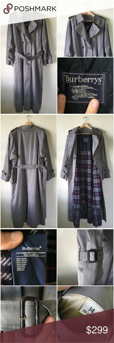 Burberry Prorsum Vintage Gray XX-Long Trench Coat Vintage Burberry Prorsum Light Gray XX-Long Belted Trench coat. Has a straight hem. Absolutely stunning coat and in good condition. Light wear from age, some wear on buckles (see photos). Hits below the knee. Side button pockets. Back pleat. Full length sleeves with buckle hems. Comes with zip-in wool liner for cool fall and winter days. Retailed for $999. Burberry Jackets & Coats Trench Coats