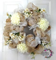 Poly Burlap Wedding Wreath in Natural Creams and Whites