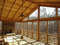 Interior of gable roof screened porch
