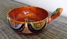 Vintage Handmade Terracotta Serving Bowl with Handle Made in Mexico