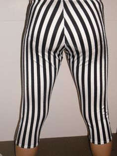 Spandex leggings black and white stripes in any by micksmakings, $25.00