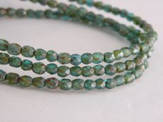 Blue Green Aqua Picasso finish fire polished Czech glass beads by Sparkling Sisters Jewelry Supplies on Etsy, $3.50