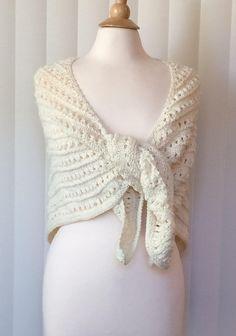 Hand Knitted Shawl Ivory Handmade Wrap