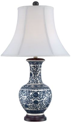 Windom Long Neck Blue and White Ceramic Table Lamp. Ceramic table lamp.  Long neck