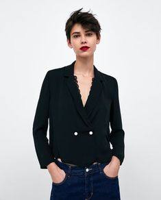 Image 2 of BLOUSE WITH PEARL DETAILS from Zara