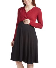 This Burgundy & Black Maternity Long-Sleeve Surplice Dress - Plus Too by GLAM is perfect! #zulilyfinds