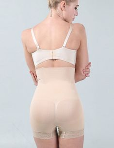 5bed90e632 Sufei High Waist Body Hot Shaper Underwear Slimming Shapewear Control  Knickers Panties Sexy Lace Seamless Boyshort Beige   Want additional info