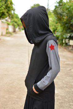 L'inverno soldato Bucky t-shirt felpa con manica sinistra grigio scuro più rosso stella nero-scuro grigio manica lunga hoodie