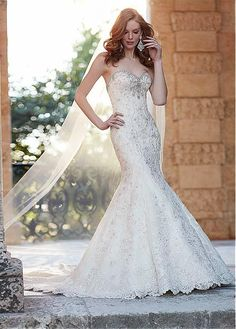 Stunning  Tulle Sweetheart Neckline Mermaid Wedding Dress With Lace Appliques & Beadings