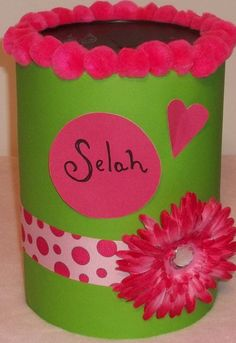 A coffee can upcycled into a cute Valentine box! (love the name!)