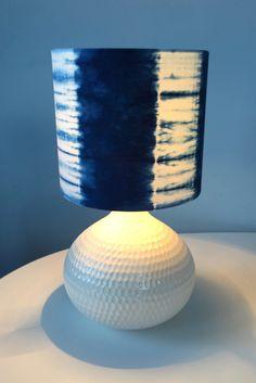 Tesugi bound striped indigo dyed lampshade by Rob Jones. Alexandra Palace, May 2016.