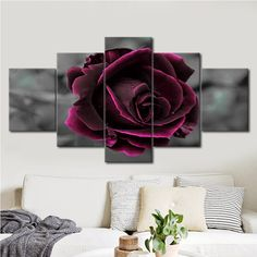 Canvas Print Picture Living Room Wall Art Frame 5 Piece Romantic Rose Painting Red Flower Poster Modular Home Decor Love Wall Art, Love Art, Framed Wall Art, Wall Art Decor, Types Of Art Styles, Canvas Wall Art, Canvas Prints, Multi Picture, Romantic Roses