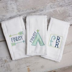 Set of 3 Personalized Burp Cloths - TeePee Arrow Woodlands Theme - Monogram Cloth Diapers - Baby Gift Set
