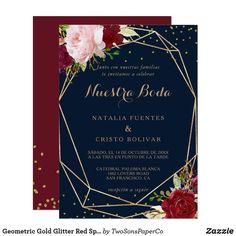 Geometric Gold Glitter Red Spanish Wedding Invitation Spanish Wedding Invitations, Burgundy Wedding Invitations, Brunch Invitations, Shower Invitations, Glitter Invitations, Invites, Gold Glitter Wedding, Red Wedding, Floral Wedding