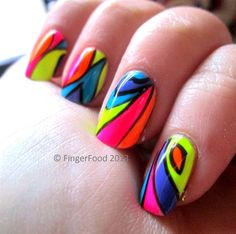 Neon Abstract by fingerfood - Nail Art Gallery nailartgallery.nailsmag.com by Nails Magazine www.nailsmag.com #nailart