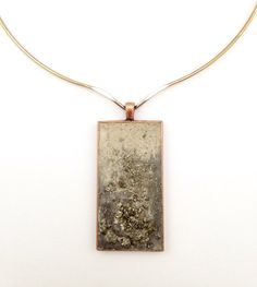 Concrete Pendant Choker with Pyrite  Each cement piece is carefully painting and mixed with crushed semi precious stones to create a unique