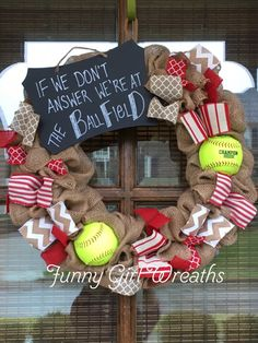 SOFTBALL WREATH Burlap Custom Ribbon colors by Funnygirlwreaths