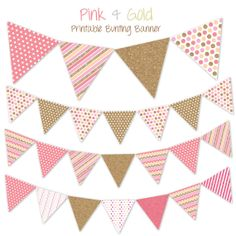 Baby Girl Pink and Gold Glitter Printable Bunting Banner fo Baby Shower- Chevron, stripes, polka dots, yellow