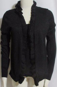 NEW Womens Ladies CHARTER CLUB Black Stretchy Faux Twin Set Cardigan Sweater M #CharterClub #OpenCardigan
