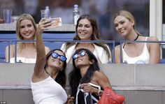 Ivanka,Zhukova and Kloss also smiled for selfies when two spectators spotted them in the ...