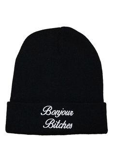 Beanie girl beanie with words Funny beanie, women's beanie streetwear | BONJOUR BITCHES BLACK BEANIE, $20