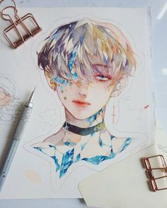 Boy group by kpop fanart, aesthetic art, watercolor illustration Kpop Fanart, Inspiration Art, Art Inspo, Watercolor Illustration, Watercolor Art, Art Anime, Fan Art, Copics, Aesthetic Art