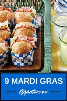 9 Mardi Gras Appetizers | Start your party off with delicious Mardi Gras appetizers like Mini Muffulettas, Creole Deviled Eggs, and more!