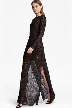 <ul> <li> Full-length embellished dress in sheer chiffon with sequins and beads</li> <li> Round neck</li> <li> Long sleeves</li> <li> Deep side hem splits</li> <li> Contrast, flesh-coloured mini-length underdress at lining</li> <li> Back rouleau loop closure with cut-out slit and concealed zip fastening</li> <li> UK size 10 length from high shoulder neck point 152.5cm</li...