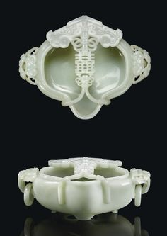 A carved pale Celadon Jade lobed marriage bowl China, Qing Dynasty, Qianlong Period (1736-1795)