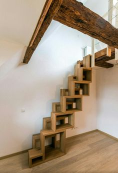 Best Cool Tips: Berlin Attic Apartment attic design kitchen.Attic Remodel Tips attic bedroom children. Space Saving Staircase, Attic Staircase, Loft Stairs, Modern Staircase, Staircase Design, Staircase Ideas, Staircases, Attic Ladder, Attic Window