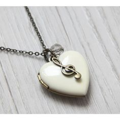 A heart to Music Antique White Heart Locket Necklace. Music Note Charm Locket Necklace. Gift for her, gift for bride, love keepsake