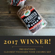 """Our new USDA Organic Sprouted Wheat & Oats Bread is a winner in Prevention Magazines """"Prevention's Cleanest Packaged Foods Awards 2017"""". We are in the March 2017 issue. Thank you to all of our customers, and everyone at Prevention Magazine for making this variety a WINNER!"""