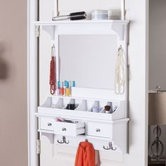 Dratch Over-the-Door Jewelry, Makeup Mirror & Accessory Storage, White
