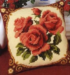 - user ludasta (Lyudmila) post in the Embroidery community in the Cross-stitch category Pillow Embroidery, Cutwork Embroidery, Embroidery Flowers Pattern, Embroidered Cushions, Cross Stitch Embroidery, Cross Stitch Cushion, Cross Stitch Rose, Cross Stitch Flowers, Cross Stitch Designs