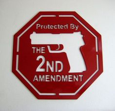 Protected by the Second Amendment Gun Home Security Sign Painted Handmade Custom Metal Art Plasma Cut on Etsy, $40.00