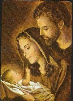 The Holy Family - Jesus Mary & Joseph Pray for Us! Blessed Mother Mary, Blessed Virgin Mary, Catholic Art, Religious Art, Mama Mary, Religious Pictures, Mary And Jesus, Christian Families, Holy Mary
