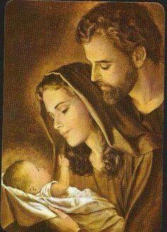 The Holy Family - Jesus Mary & Joseph Pray for Us! Religious Pictures, Jesus Pictures, Holy Family Pictures, Blessed Mother Mary, Blessed Virgin Mary, Catholic Art, Religious Art, Mama Mary, Mary And Jesus