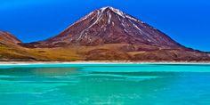 Salty Laguna Verde (the green lagoon) at the foot of Bolivia's Licancabur volcano.