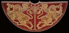 12th Century Coronation mantle of Roger II from Palermo (1133-34), silk with figures, decorated by pearls and gemstones, Kunsthistorishes Museum, Vienna