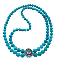 Vintage necklace from 1957 by Bulgari made of turquoise, diamonds and rubies