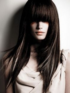 Super heavy fringe and dark hair with white highlights <3