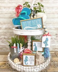 Beach / ocean coral white & teal tiered tray set Mix and Mermaid Sign, I Need Vitamin Sea, Coffee Bar Signs, Tiered Stand, Farmhouse Style Decorating, Farmhouse Decor, Tray Decor, Wooden Beads, Coastal Decor