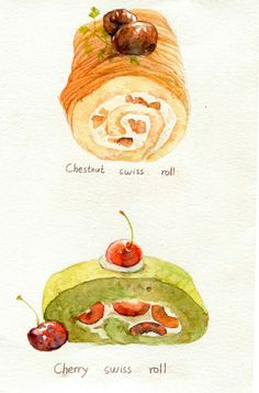 New Cake Illustration Cute Kitchens Ideas Dessert Illustration, Watercolor Illustration, Cute Kitchen, Kitchen Art, Desserts Drawing, Chibi Kawaii, Watercolor Food, Watercolour, Cute Food Art