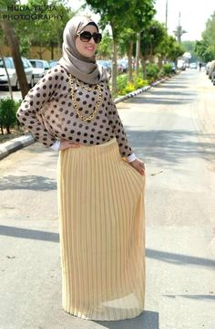 yellow skirt hijab look