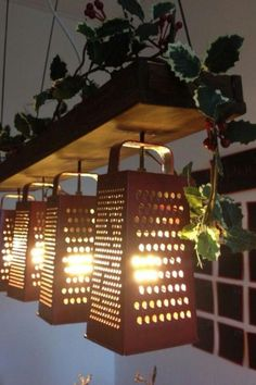 Kitchen lighting- cheese graders!!!!