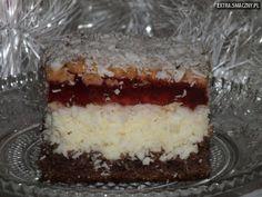 Przepisy kulinarne - Ciasto kokosowe z galaretką w lekkim zimowym puchu ;) - Ciasta, desery, sałatki