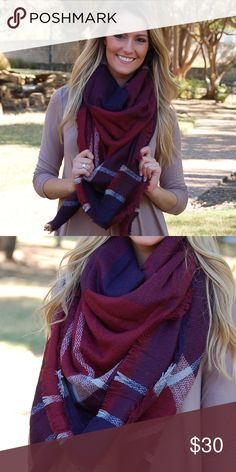 "Dark Navy Burgundy Flannel Blanket Scarf This large blanket scarf is one of the most popular items of the season! There are many ways to wear this staple piece, so the options are endless! These are the high quality scarves that are SOOO soft and are approximately 52""x52""! Also available in other colors, so check out my closet! Paperback Boutique Accessories Scarves & Wraps"